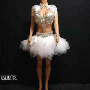 Hand-Sewn crystal Diamond Jazz Latin dancer dress Ladies ds ballet costume ballroom singer disco dj dance dresses