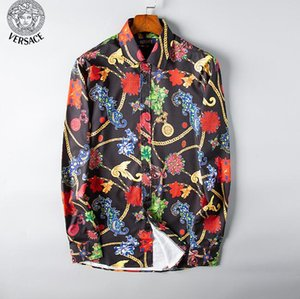 Fashion Designer Slim Fit Shirts Men 3D Black Gold Floral Print Mens Dress Shirts Long Sleeved Business Casual Shirts Males Clothes#0325 on Sale