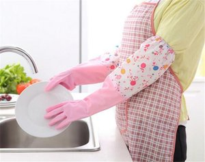 Wholesale Hot Home Kitchen Cleaning PVC Gloves Household Warm Durable Waterproof Dishwashing Glove Water Dust Cleaning