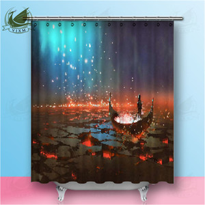 Wholesale Vixm Fantasy Landscape Boat In Volcano Digital Art Illustration Painting Land Shower Curtain Waterproof Polyester Fabric Bathroom Deco