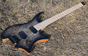 Factory custom headless model electric guitar black guitar flame maple neck, custom color label