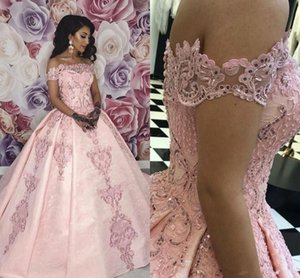 Wholesale Full Lace Pink Evening Dresses Elegant 2020 Off Shoulders A Line Pageant Vestidos Prom Gowns Sweet 16 Quinceanera Dress Appliqued BC2348