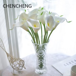 Wholesale 31Pieces Natural Real Touch Flowers Calla Lily Wedding Bouquets Wedding Decoration Hotel Home Party Decor Christmas