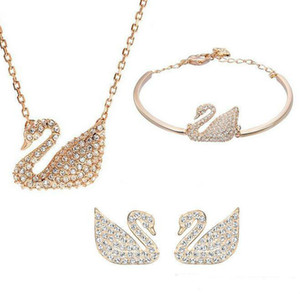 Wholesale Gold Silver Plated Austrian Crystal Swan Jewelry Set for Women Made With Swarovski Elements Animal Jewelry Sets Wedding Jewelry 3pcs set