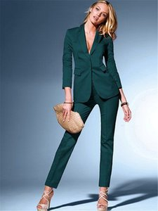 Wholesale Womens Dark Green Suits Blazer with Pant Business Suits Formal Office Elegant Suits for Weddings Slim Fit Custom Made