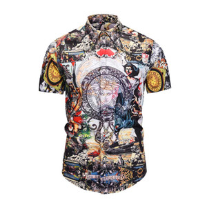 Wholesale 2019 Men's Dress Shirts France High Street Fashion Harajuku Casual Shirt Men Medusa Black Gold tiger leopard Fancy Slim Fit Shirts