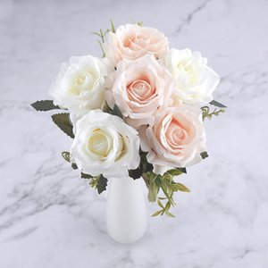 Wholesale 6 Heads Bouquet White Rose Artificial Flowers Silk High Quality for Wedding Decoration Winter Fake Big Flowers Red for Home Decor Autumn