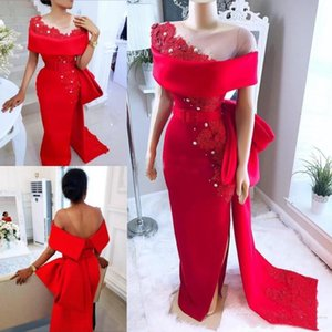 Wholesale Elegant Saudi Arabic Red Dresses Evening Wear With Sheer Neck Bow Train Beaded Pearls Prom Party Dress Satin Side Split African Formal Gowns