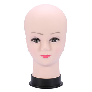 Wholesale PVC Mannequin Head Model Female Wig Making Hat Display With Base Eyelash Makup Practice Traning Manikin Bald Head Model