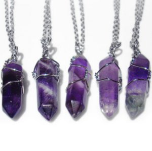 Wholesale Fashion Crystal Necklace Pendant with Chain Opalite Gem Stone Hot Starry Sky Onyx Amethyst