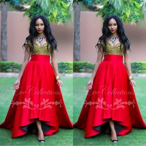 Wholesale 2019 New Sexy Off Shoulder African Evening Dresses with Beaded lace Robe De Soiree A Line Sweep train Red Party Prom Gowns