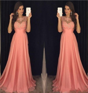 Cheap Sexy New Coral Pink Prom Dresses Jewel Neck Illusion Sleeveless Lace Appliques Beaded Chiffon Evening Dress Party Pageant Formal Gowns on Sale