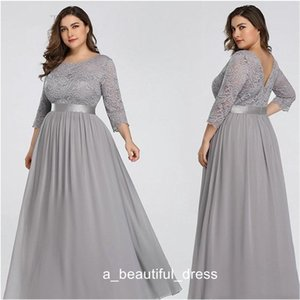 Wholesale silver jewe resale online - Silver Plus Size Prom Dresses Jewe Hollow Back Cap Long Sleeve Chiffon Lace Length Evening Gowns Length Formal Dress ED1237