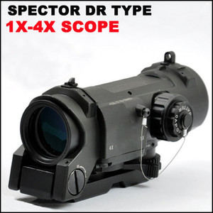 Tactical Spector DR 1X 4X Illuminated Mil-Dot Scope rifle scope Black Dark Earth