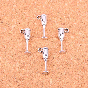 Wholesale silver plated wine glasses resale online - 156pcs Charms champagne flutes wine glass Antique Silver Plated Pendants Making DIY Handmade Tibetan Silver Jewelry mm