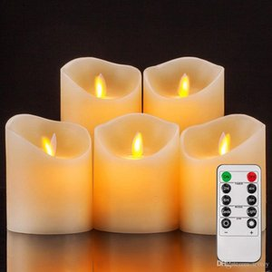 Battery Operated Candles Pillar Realistic Moving Flame Real Wax Flameless Flickering LED Candles with Remote Control 2 4 6 8 Hours Timer