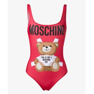 Wholesale Tide Brand Cute Bear Lady Bikini Swimsuit Sexy Backless Women One Piece Bikini Swimwear Fashion Red Letter Animal Printed Bathing Suit