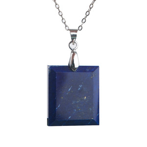 Wholesale Natural Lapis Lazuli Gems Crystal Pendant Necklace Fashion Jewelry Rectangle Beads Stone Pendants Necklace