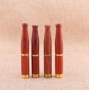 Wholesale rosewood pipe resale online - New double filter cleaning pipe fittings cigarette holder Red rosewood smooth removable cigarette holder Direct sales