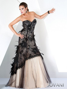 Pageant Dresses Heart-necked champagne skirt with black lace feathered tuxedo jacket sequins sparkling back zipper customized package on Sale