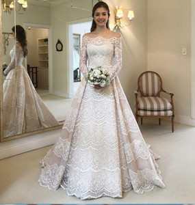 Wholesale Long sleeves Vintage Wedding Dress 2019 NewTwo Pieces Bridal Gown Bridal Gowns Vestido De Noiva with Free Veils