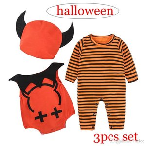 Wholesale 0 Y INS Halloween infnat romper set infant orange striped long sleeved rompers jumpsuits Little devil print vest romper baby hats