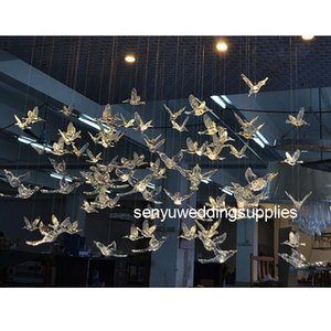 Wholesale High Quality Wedding Decoration Hanging Plastic Acrylic Flying Bird Wedding Backdrop senyu0204