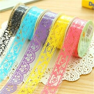 Wholesale Multi Color Rose Lace Scrapbooking Hollowing Out Adhesive Tape Decorate Butterfly Pattern Stationery Flower Girl Student DIY Album ydD1