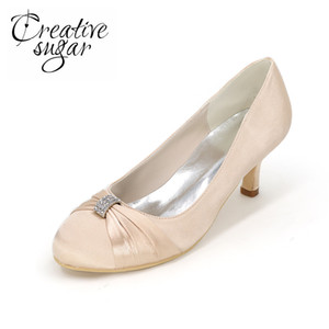 Wholesale Creativesugar Elegant Knot Crystal Closed Toe Med Heel Satin Dress Shoes Bridal Wedding Prom Party Event Pumps Slip On Champagne