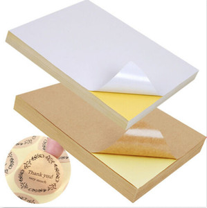 Wholesale Yellow background paper high viscosity A4 sticker brown paper packaging label for laser ink jet printing sticker Color
