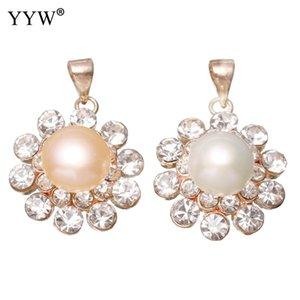Natural Freshwater Pearl Pendants Rose Gold Color Plated Cubic Zircon Rhinestone Flower Pearl Pendant fit Necklaces Women Gifts