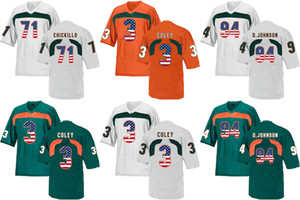 Wholesale Factory Outlet NCAA Miami Hurricanes D JOHNSON Coley College Football Embroidery and Sewing Accept Mix Order Sport Jersey Style