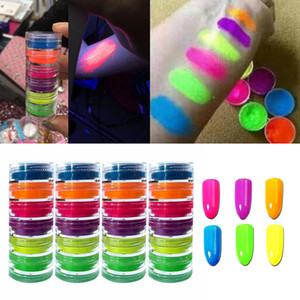 6Color Nail Glitter Powder Neon Pigment Gradient Glitter Iridescent Acrylic Nail Powder Polish Professional Decoration July26