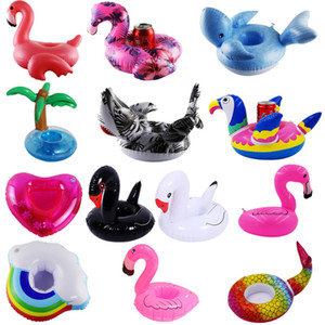 Wholesale Inflatable Drink Cup Holder Donut Flamingo unicorn mermaid yellow duck PVC swimpool Floating Mat Floating Pool Toys