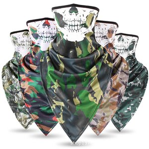 Wholesale Tactical Camo Skull Ice Silk Quick Drying Triangle Towel Ventilated Anti Terror Face Mask Collar Military Fans Towel Cycling Caps Masks
