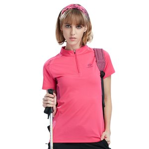 Wholesale Summer Quick Dry Women T Shirts Zipper Collar Outdoor Sport Tops Breathable Hiking Climbing T Shirts
