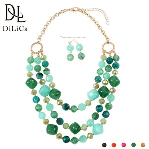 wholesale Trendy African Bridal Jewelry Sets Women Layered Big Beads Statement Necklace Choker Earrings Set Vintage Jewelry
