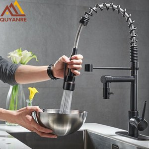 Wholesale kitchen faucets pull out sprayer resale online - Blackend Spring Kitchen Faucet Pull out Side Sprayer Dual Spout Single Handle Mixer Tap Sink Faucet Rotation Kitchen Faucets
