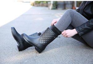 Hot Sale-Women Rain Boots Ladies Hunter Boots Shoes High Top Winter Autumn Women Knee High Boots Shoes Zipper Dropshipping