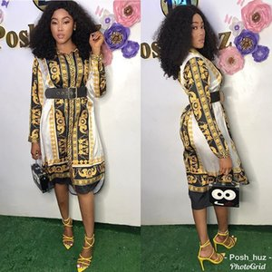Wholesale Designer Women Clothes New Style Classic African Womens Vintage Dress Dashiki Fashion Printed Lapel Neck Long Sleeve Shirt Dresses