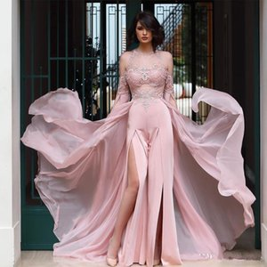 Wholesale New Cheap Sexy Pink Jumpsuit Prom Dresses Jewel Neck Long Sleeve Appliques Side Split Overskirt Chiffon Red Carpet Celebrity Dress 2019