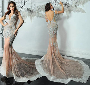 Wholesale 2019 Mermaid Yousef Aljasmi sleeveless Dresses Evening Wear Luxury Crystals Evening Gown Zuhair murad Celebrity beadiing tassels Prom Gowns