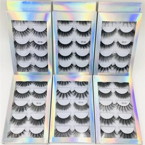 beste natürliche falsche wimpern großhandel-Heißer Verkauf Bester Preis Paar Natürliche dicke synthetische Eime Wimpern Make up Handmade Fake Cross False Wimpern mit holographischer Box