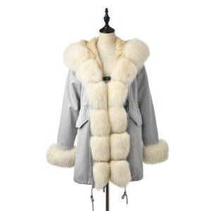 Wholesale TOPFUR Fashion Real Fur Coat Women Natural Real Fox Fur Parka With Hood Medium Long Parka Jacket Women Winter Outwear