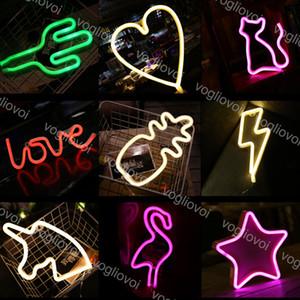 LED Neon Sign SMD2835 Indoor Night light Rainbow Moon Bat Deer Lightning Model Holiday Xmas Party Wedding Decorations Table Lamps EUB