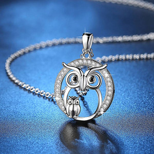 Wholesale Personality Simple Owl Pendant Necklace New Zircon Pendant Owl Necklace Women Crystal Fashion Jewelry Christmas