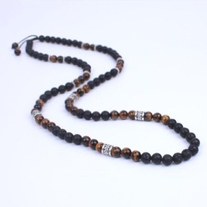 Wholesale Men Necklace Lava stone and Onyx Energy Beads Necklace Stone bead with Ancient silver metal steampunk Jewelry