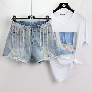 Wholesale Fashion Summer Water Drilling Fringed Chain Hole Jeans Shorts Women Korean High Waist Wide Legs Shorts Denim Hot Pants