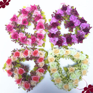 Wholesale Wall DIY Hanging Flower Wreaths Artificial Garland Flower Ring Silk Cloth Heart Shaped Color Wedding Decoration Home Decor