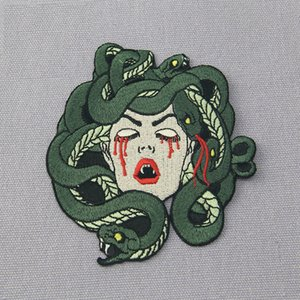 Wholesale The Bleeding Medusa Blood Embroidered Patch Iron On Patch Sewing Applique Clothes Patch Stickers Apparel Accessories